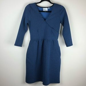 HD in Paris Anthro polka dot 3/4 sleeve dress S
